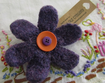 FELT FLOWER BROOCH (Large) - Hand-knitted & felted corsage with button centre - Purple/Orange -Free Uk postage