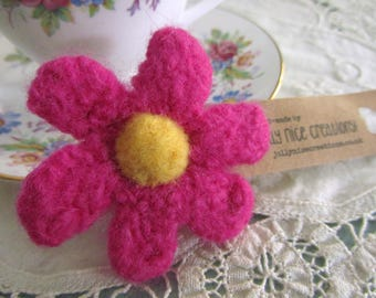 FELT FLOWER BROOCH (Medium) - Hand-knitted & felted corsage with needle felted centre - Cerise Pink/Yellow -Free Uk postage