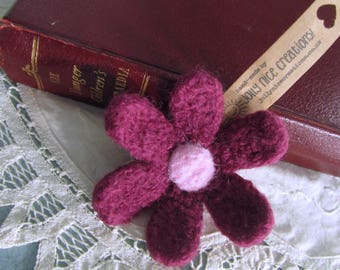 FELT FLOWER BROOCH (Large) - Hand-knitted & felted corsage with needle felted centre - Aubergine/Pink -Free Uk postage