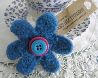 FELT FLOWER BROOCH (Medium) - Hand-knitted & felted corsage with button centre - Blue/Pink -Free Uk postage