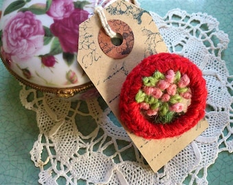ROSY POSY BROOCH - Hand-made retro style brooch using recycled materials based on a vintage design - pillar box red & pink - Free Uk postage