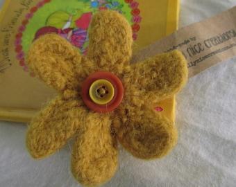 FELT FLOWER BROOCH (Medium) - Hand-knitted & felted corsage with button centre - Mustard/Orange -Free Uk postage