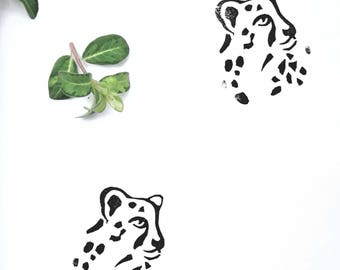 Hand carved rubber stamp cheetah
