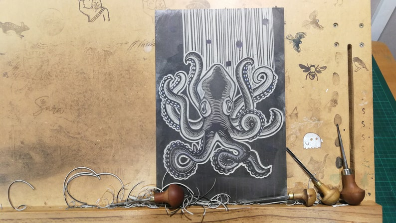 ocean My mysterious friend an original limited edition hand carved linocut lino print featuring the octopus cephalopod
