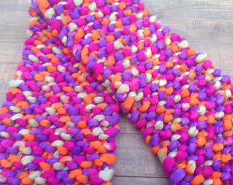 Multicolor Oversized Scarf, Chunky Scarf, Thick and Warm Scarf, Knitted Scarf, Oversize Knitting