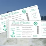 DIY Printable Wedding Invitation Card Template | Editable MS Word file | 3.25 x 8 | Instant Download | Cruise Ship Emerald Green