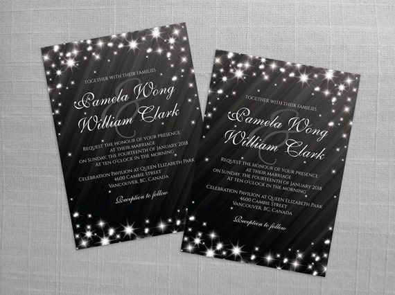 Diy Printable Wedding Invitation Card Template Editable Ms Word File 5 X 7 Download Winter White New Years Heaven Sparkles Black