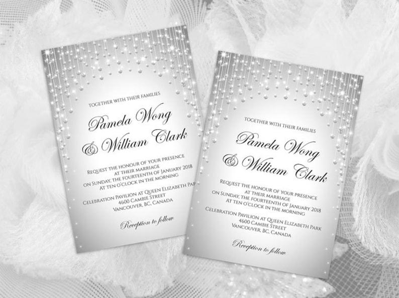 DIY Printable Wedding Invitation Card Template  Editable MS image 0