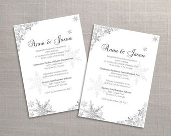 DIY Printable Wedding Invitation Card Template   Editable MS Word file   5 x 7   Instant Download   Winter Silver Snowflakes