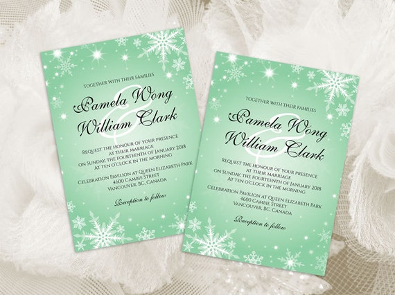 Diy Printable Wedding Invitation Card Template Editable Ms Word File 5 X 7 Instant Download Winter White Snowflakes Green Mint