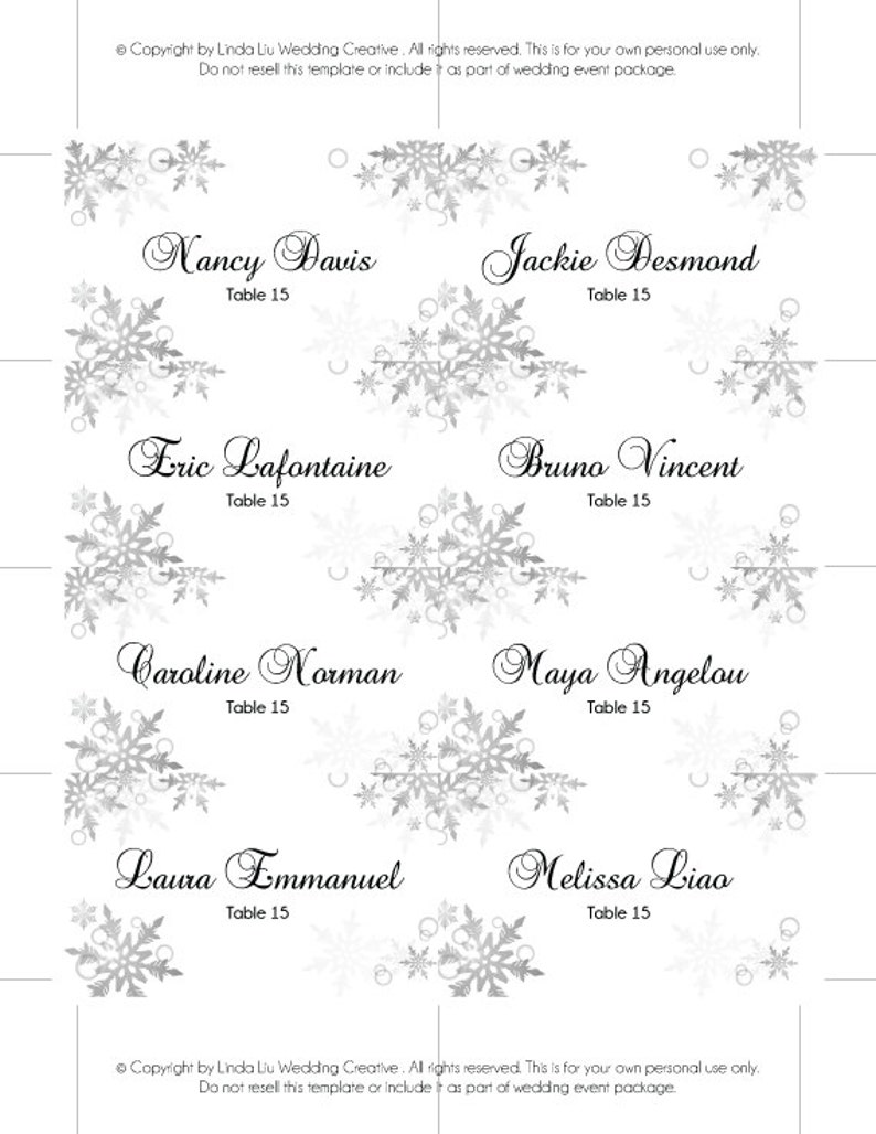 Editable Ms Word File Instant Download Diy Printable Wedding Place Name Card Template 3 5 X 2 Winter Silver Bubble Snowflakes