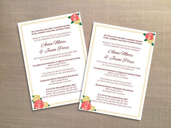 Diy Printable Wedding Invitation Card Template Editable Ms Word File 5 X 7 Instant Download Coral Gold Elegant Roses