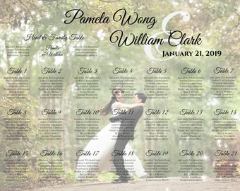 Printable Wedding Seating Chart | Digital PDF file | Photo Personalized Poster | Custom Fonts | Create and You Print - EMAIL Delivery