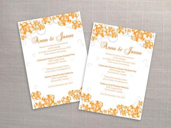 Diy Printable Wedding Invitation Card Template Editable Ms Word File 5 X 7 Instant Download Orange Sparkle Roses