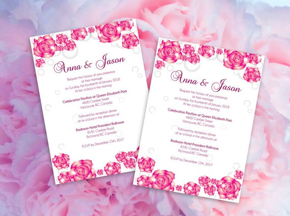 Diy Printable Wedding Invitation Card Template Editable Ms Word File 5 X 7 Instant Download Pink Sparkle Roses