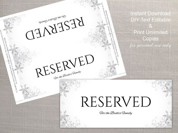 diy printable wedding reserved sign template editable ms etsy