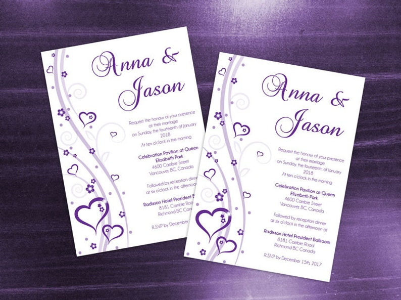 DIY Printable Wedding Invitation Card Template
