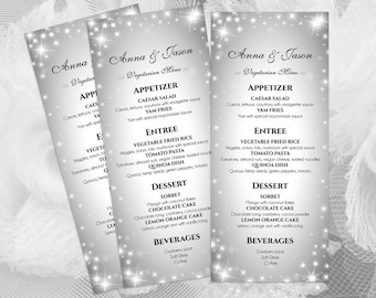 DIY Printable Wedding Menu Template   Sparkly   Editable MS Word file   4 x 9.25   Instant Download   New Years Sparkles Silver