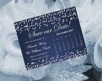 Printable Wedding Save The Date Calendar Template | Ready to print PDF file | 5.5 x 4.25 | I Create You Print | Diamond Shower Navy Blue