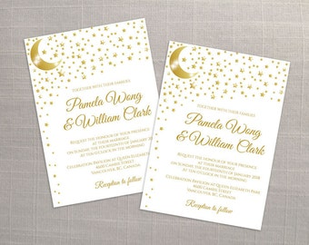 DIY Printable Wedding Invitation Card Template   Editable MS Word file   5 x 7   Instant Download   5 point Gold Moon Star
