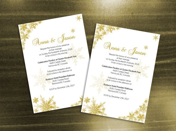 Diy Printable Wedding Invitation Card Template Editable Ms Word File 5 X 7 Instant Download Winter Gold Snowflakes