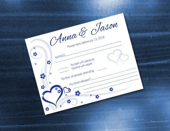diy printable wedding rsvp card template editable ms word etsy