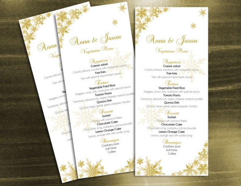 4 x 9.25 Instant Download DIY Printable Wedding Menu Template Editable MS Word file Winter Gold Snowflakes