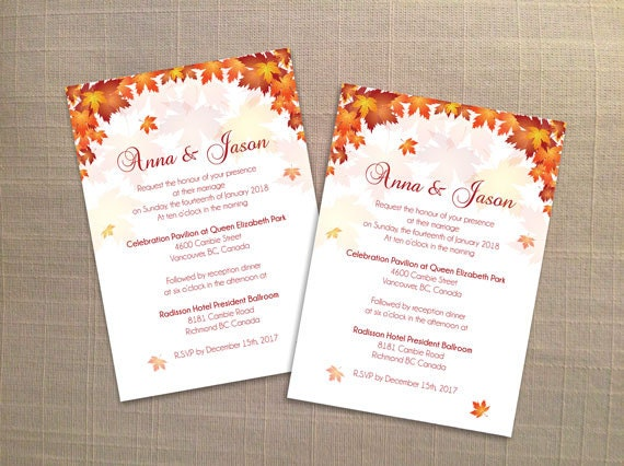 Diy Printable Wedding Invitation Card Template Editable Ms Word File 5 X 7 Instant Download Red Orange Old Fall Leaves