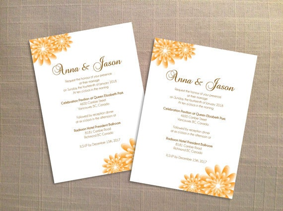 Diy Printable Wedding Invitation Card Template Editable Ms Word File 5 X 7 Instant Download Gold Orange Party Flower