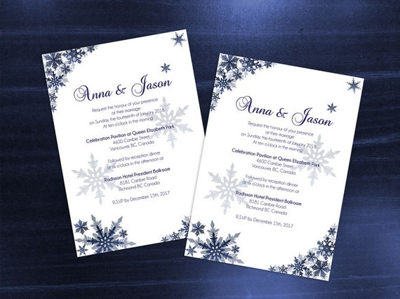 Diy Printable Wedding Invitation Card Template Editable Ms Word File 5 X 7 Instant Download Winter Navy Blue Snowflakes