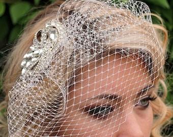 Crystal Birdcage Veil   Birdcage Veil   Crystal Blusher Veil   Bridal Veil   Ivory Wedding Veil   Hair Fascinator   Bridal Hairpiece   Bride