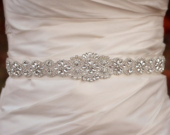Beaded Wedding Sash | Wedding Belt | Rhinestone Bridal Belt | Bridal Belt Sash | Crystal Bridal Sash | Wedding Sash | Crystal Wedding Belt