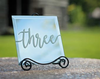 Numéros de table | Miroir de numéros de Table | Décor de mariage | Numéros de Table de mariage | Décorations de Table de mariage | Decor de table | Signes de mariage