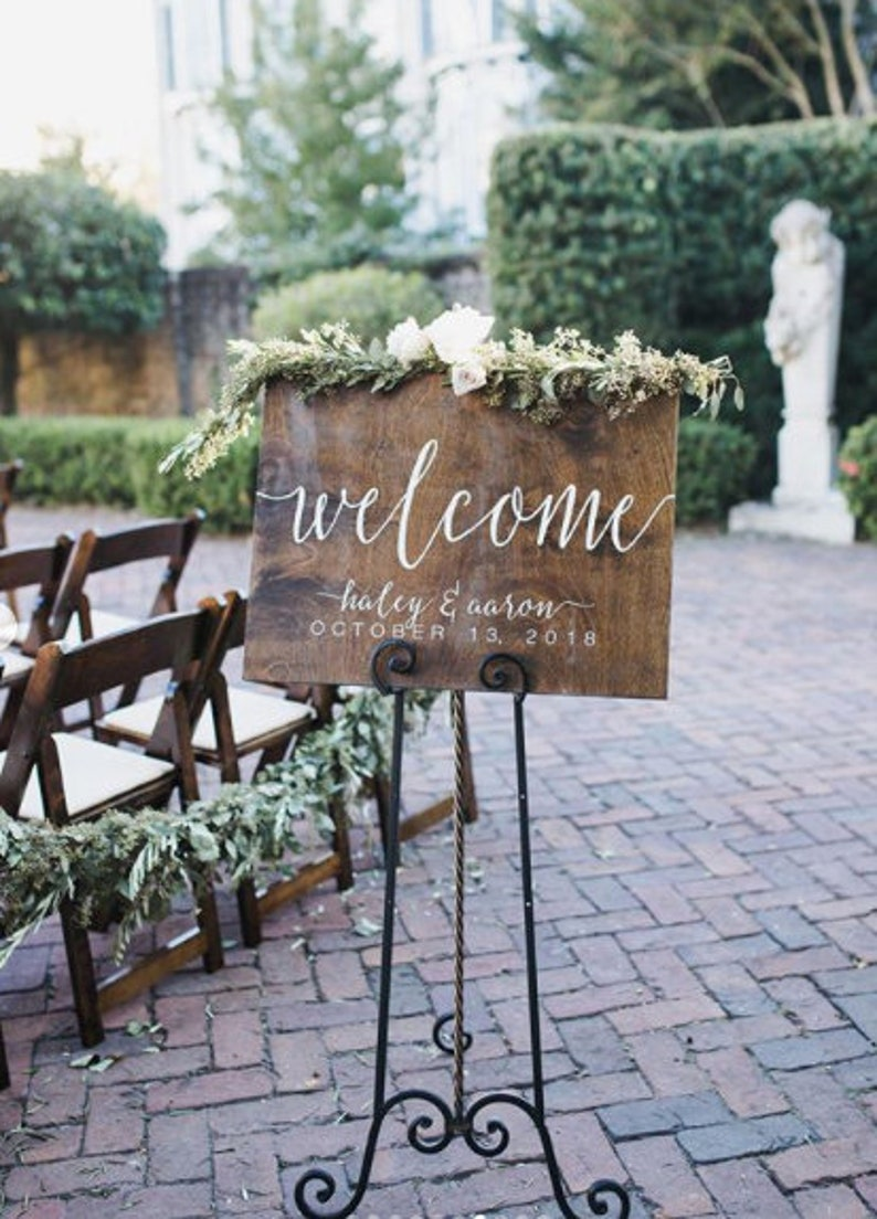 Wood Wedding Sign Wedding Welcome Sign Rustic Wedding image 1