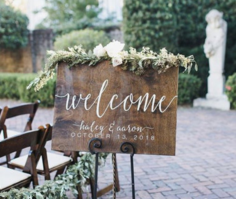 Wood Wedding Sign Wedding Welcome Sign Rustic Wedding image 0