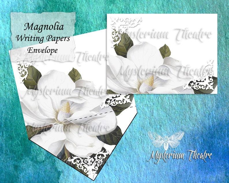 Botanical White Magnolia Illustration Digital Stationary Five Piece Set