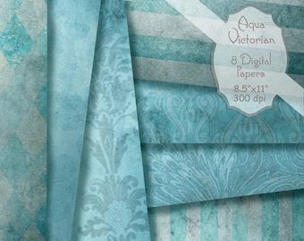 Aqua Blue Digital Paper Printables Vintage Victorian Grunge