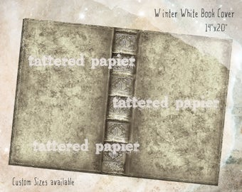 Distressed Winter White Digital Book Cover Kit Printable Journal 14x20 Inch Book