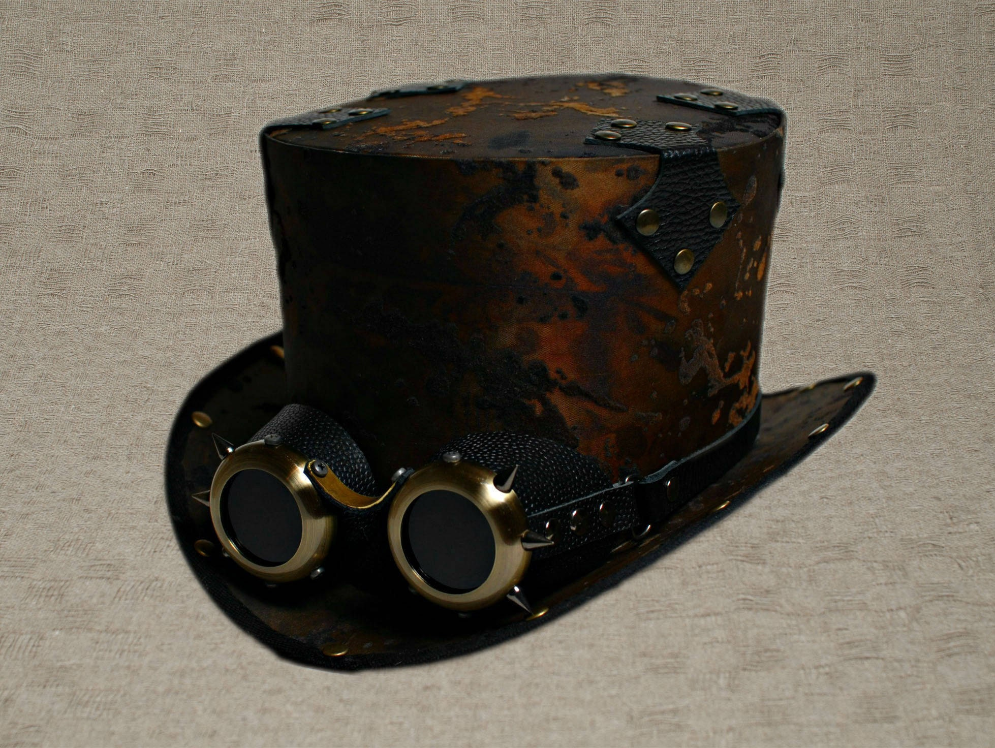 Steampunk Top Hat with Goggles Victorian Top Hat with ...