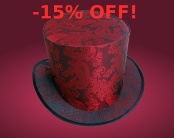 Sale 15 % OFF Red Wedding Top Hat Burning the Man Festival Bride Bridal Victorian Steampunk Clothing Dress Lady Tophat Party Derby Fancy