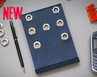 Hand-made Leather Journal Notebook with 7 eyelets Gift for Him Pocket Size Notepad Recycled Paper Diary Sketchbook Punk Hard Rock New 2021