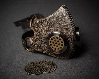 Respirator Steampunk Accessory Leather Steampunk Mask Unisex Cosplay Mask Cybergoth Gas Mask Cyber Goth Mask Cybergoth Genuine Leather Mask