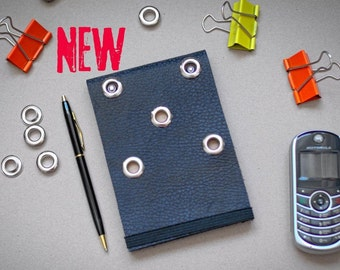 Blue Leather Notebook Journal with 5 eyelets Gift for Her New 2021 Notepad Handmade Recycled Paper Diary Sketchbook Punk Hard Rock Heavy