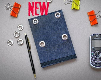 Blue Genuine Leather Notebook Journal with 4 eyelets Father's Day New 2021 Pocket Size Notepad Handmade Recycled Paper Diary Sketchbook Punk