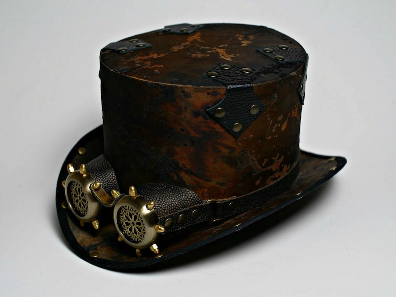 2988582c4cf2 Steampunk Top Hat with Goggles Post Apocalyptic Tophat Steam