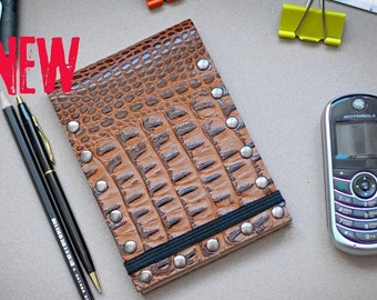 Alligator like Leather Cover Journal Notebook with Business Cards Holder A6 Pocket Handmade Recycled Paper Diary Notepad New 2021