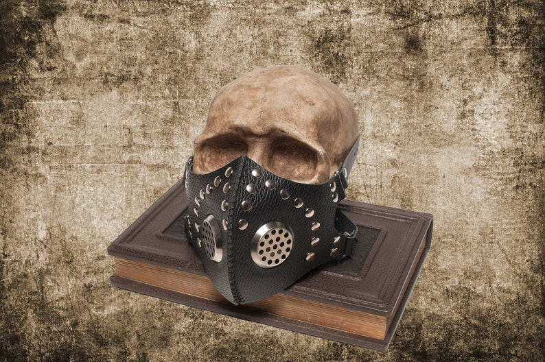 Mask Cyber Goth Post Apocalyptic Leather CyberGoth Gasmask Black Leather Burning Mask Man Respirator Face Party Silver Rivets Roleplay