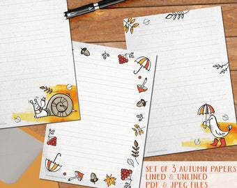 Autumn pack#1 - printable writing paper - A5 size - 3 designs