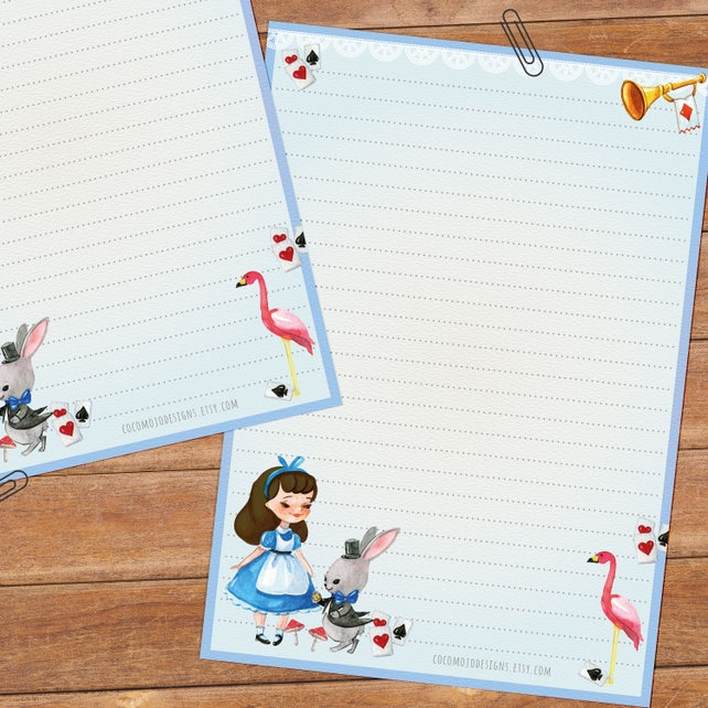Alice in Wonderland - DOWNLOAD file - printable writing paper - pink & blue version - A5 size