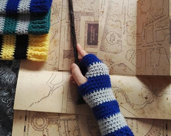 Handmade Hogwarts inspired Wrist Warmer Fingerless Gloves